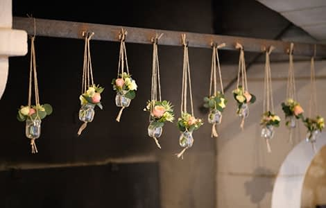 Suspended flowers at Suzanne farm in Château Giscours