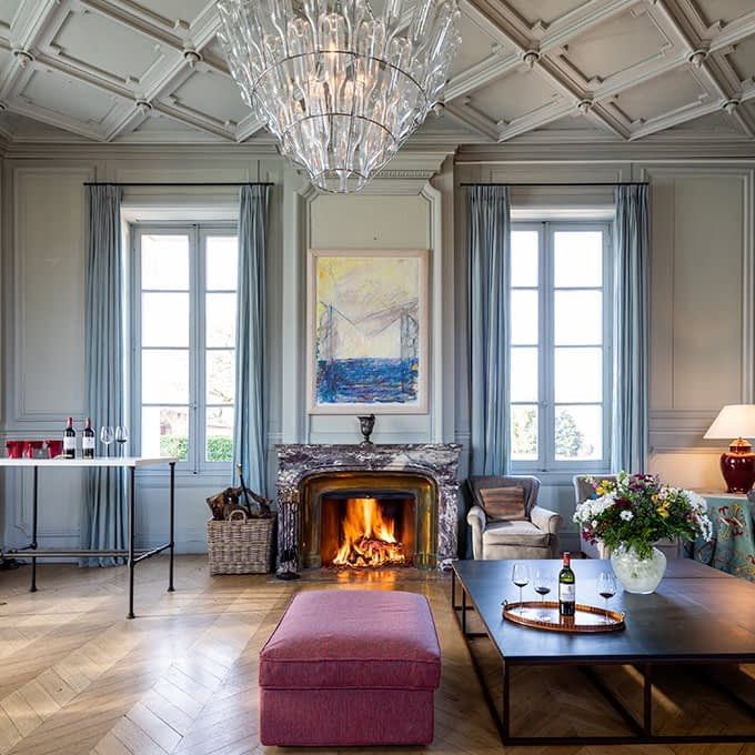 The Château's private-hire lounge welcomes you for a fine wine tasting