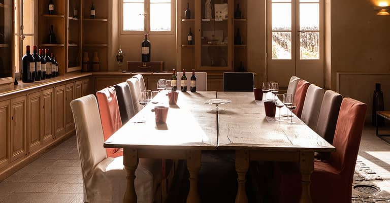 Tasting room of the old stables at Château Giscours